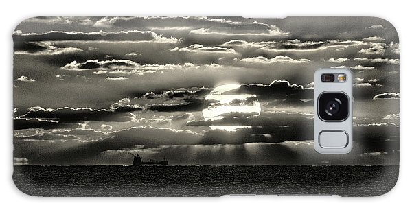 Galaxy Case featuring the photograph Dramatic Atlantic Sunrise With Ghost Freighter In Monochrome by Bill Swartwout Fine Art Photography