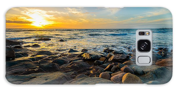 Scenery Galaxy Case - Dramatic Sunset On The Rocky Beach by Amophoto au