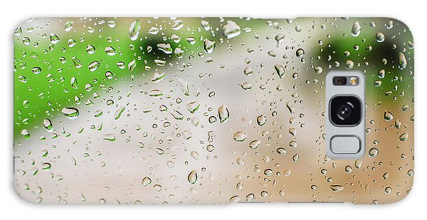 Drops Of Rain On An Autumn Day On A Glass. Galaxy Case