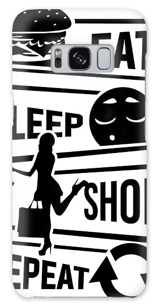 Online Shopping Cart Galaxy Case - Eat Sleep Shop Repeat Purchase Shoes Shopping by Mister Tee