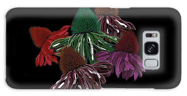 Echinacea Flowers With Black Galaxy Case
