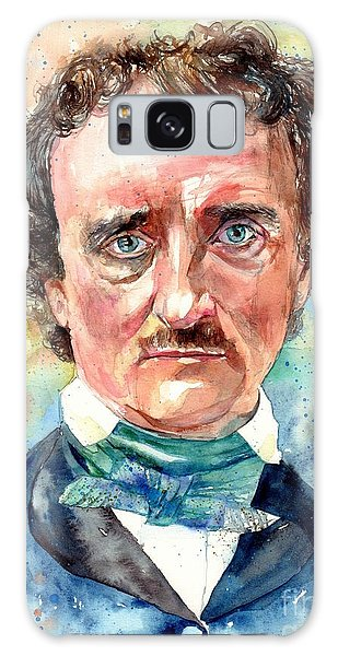 Skull Galaxy Case - Edgar Allan Poe Portrait by Suzann Sines
