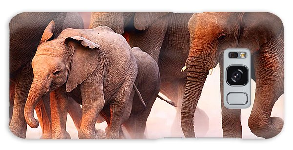 Horizontal Galaxy Case - Elephant Herd On The Run In Etosha by Johan Swanepoel