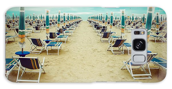 Horizontal Galaxy Case - Empty Beach Scenery With Deckchairs And by Anastazzo