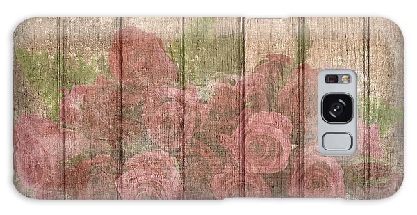 Faded Red Country Roses On Wood Galaxy Case