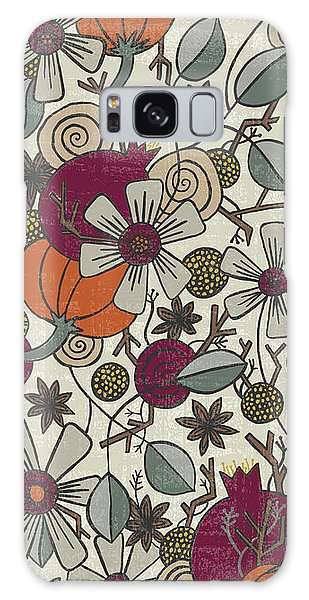 Fall Botanical Art Cream Background Galaxy Case