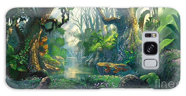 Dawn Galaxy Case - Fantasy Forest Background Illustration by Noreefly