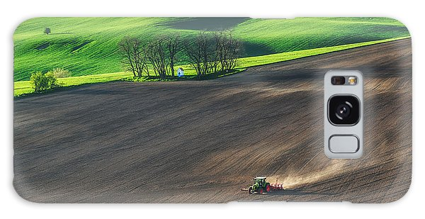 Farmland Galaxy Case - Farm Tractor Handles Earth On Field - by Dmytro Balkhovitin