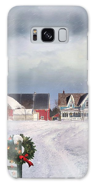 Farmhouse On Cold Winter Day Galaxy Case