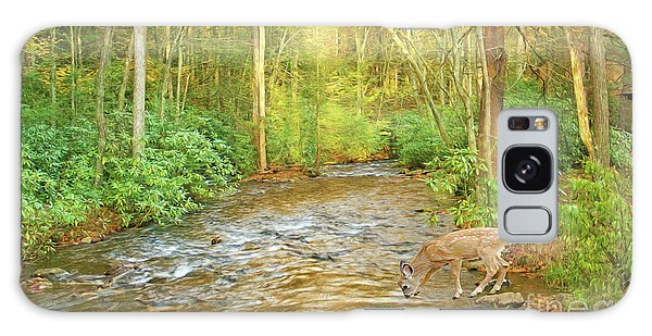 White-tailed Deer Galaxy Case - Fawn Drinking From Stream by Laura D Young