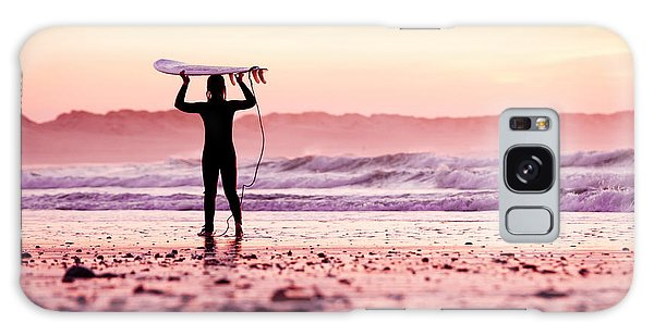 Active Galaxy Case - Female Surfer On The Beach At The Sunset by Iko