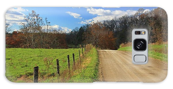 Galaxy Case featuring the photograph Fence And Country Road by Angela Murdock