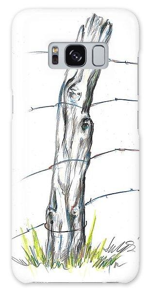 Fence Post Colored Pencil Sketch  Galaxy Case