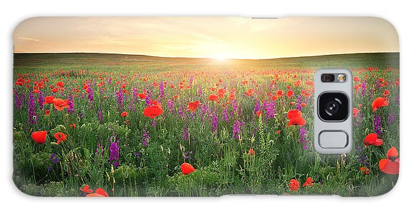 Scenery Galaxy Case - Field With Grass, Violet Flowers And by Esolex