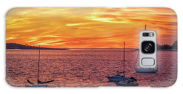 Fiery Sunrise Over Casco Bay Galaxy Case