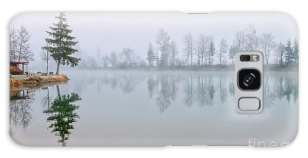 Horizontal Galaxy Case - Fir Trees Reflecting In Still Lake by Boris Stroujko