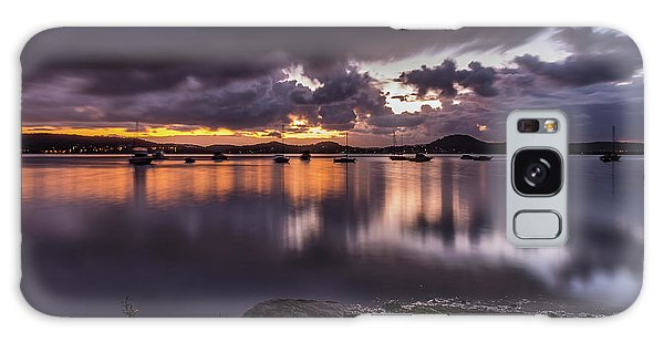 First Light With Heavy Rain Clouds On The Bay Galaxy Case