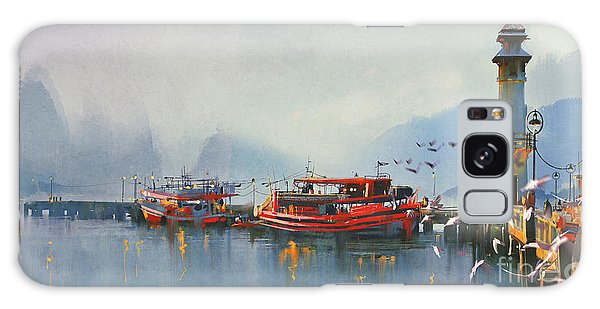 Reflections Galaxy Case - Fishing Boat In Harbor At by Tithi Luadthong