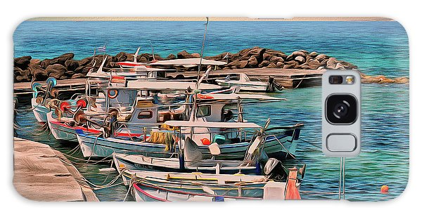 Galaxy Case featuring the photograph Fishing Boats Corfu by Leigh Kemp