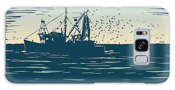 Shipping Galaxy Case - Fishing Schooner, Sea And Sea Gulls by Jumpingsack