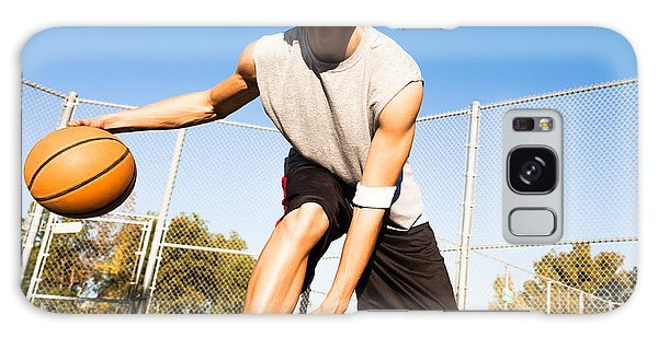 Sportsman Galaxy Case - Fit Male Playing Basketball Outdoor by Pkpix