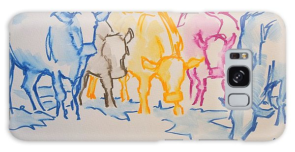 Five Cows Five Colors Watercolor Line Drawing Galaxy Case