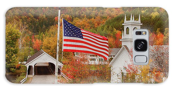 Flag Flying Over The Stark Covered Bridge Galaxy Case