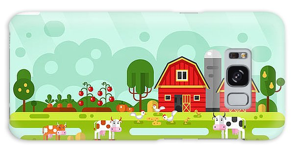 Farmland Galaxy Case - Flat Design Vector Rural Landscape by Milkym