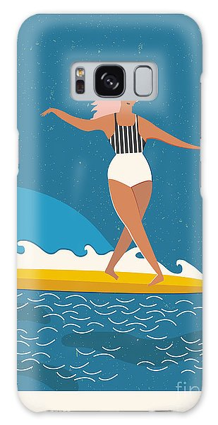 Board Galaxy Case - Flat Illustration With Surfer Girl On A by Nicetoseeya