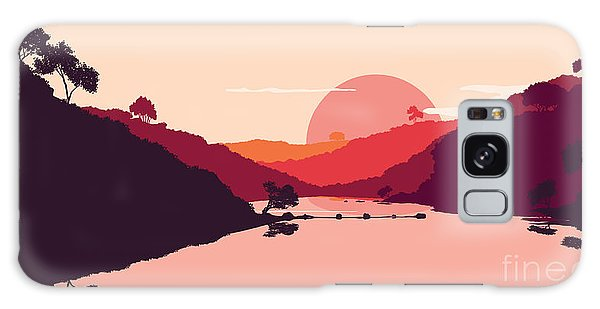 Reflections Galaxy Case - Flat Landscape Of Mountain, Lake And by Miomart