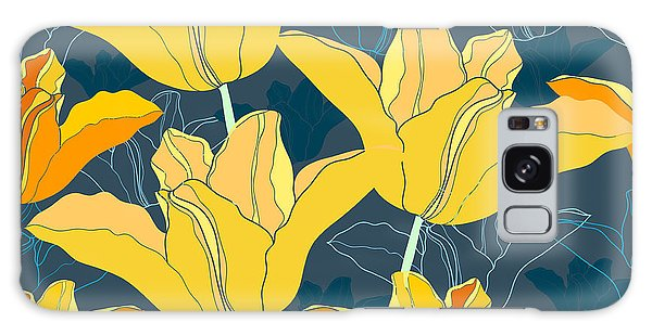 Botanical Garden Galaxy Case - Floral Seamless Pattern With Yellow by Marymyyr