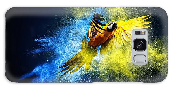 Macaw Galaxy Case - Flying Ara Parrot Over Colourful Powder by Nejron Photo