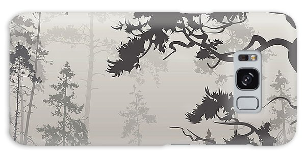 Pine Branch Galaxy Case - Foggy Landscape With Silhouette Of by Eva mask