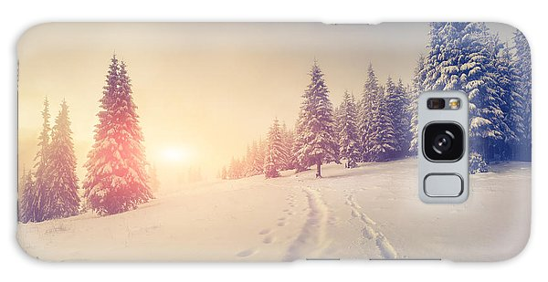 Scenery Galaxy Case - Foggy Winter Sunrise In The Mountains by Andrew Mayovskyy