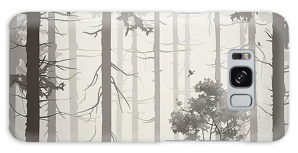 Pine Branch Galaxy Case - Forest Air Landscape With Birds, Light by Eva mask