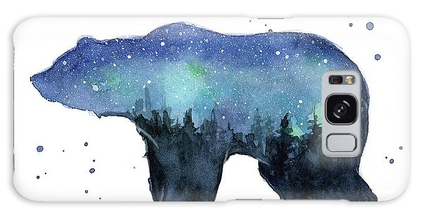 Galaxy Galaxy Case - Forest Bear Watercolor Galaxy by Olga Shvartsur