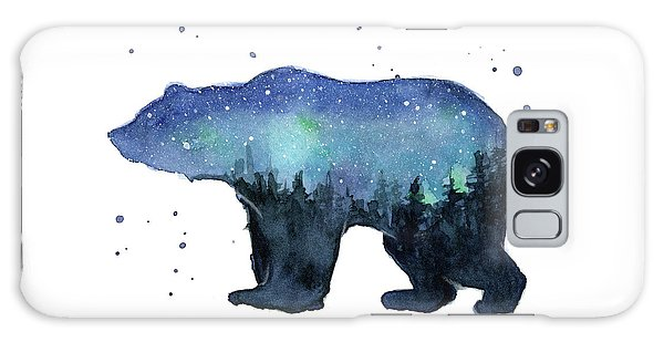 Outer Space Galaxy Case - Forest Bear Watercolor Galaxy by Olga Shvartsur