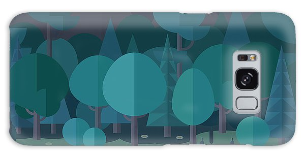 Reflections Galaxy Case - Forest Landscape In A Flat Style In The by Art.tkach