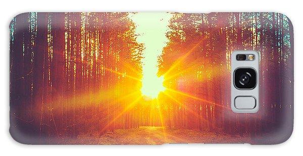 Dawn Galaxy Case - Forest Road Under Sunset Sunbeams. Lane by Grisha Bruev