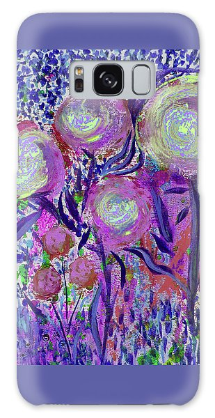 Four Pink Flowers In Blue Galaxy Case