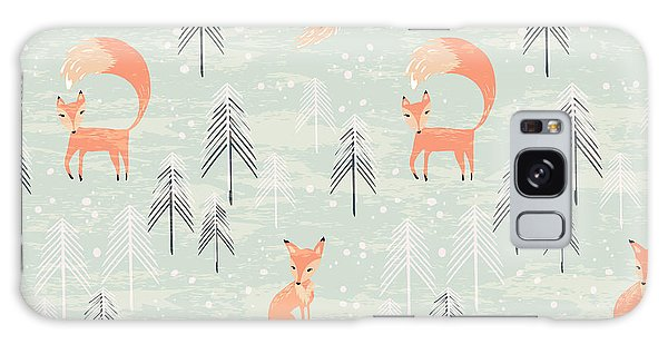 Wrap Galaxy Case - Fox In Winter Pine Forest. Seamless by Lidiebug