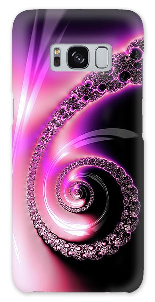 Galaxy Case featuring the photograph Fractal Spiral Pink Purple And Black by Matthias Hauser