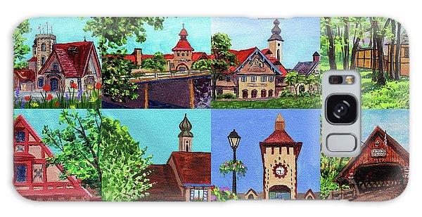 Clock Galaxy Case - Frankenmuth Downtown Michigan Painting Collage I by Irina Sztukowski