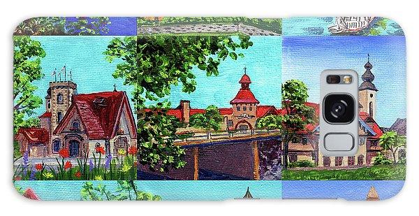 Clock Galaxy Case - Frankenmuth Downtown Michigan Painting Collage II by Irina Sztukowski