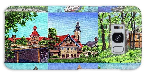 Clock Galaxy Case - Frankenmuth Downtown Michigan Painting Collage IIi by Irina Sztukowski