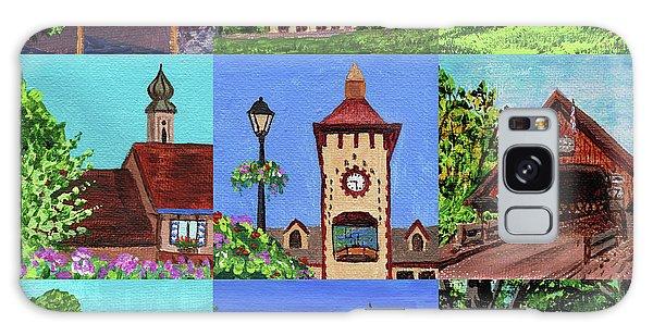 Clock Galaxy Case - Frankenmuth Downtown Michigan Painting Collage Iv by Irina Sztukowski
