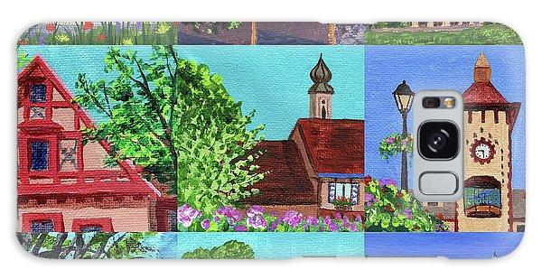 Clock Galaxy Case - Frankenmuth Downtown Michigan Painting Collage V by Irina Sztukowski