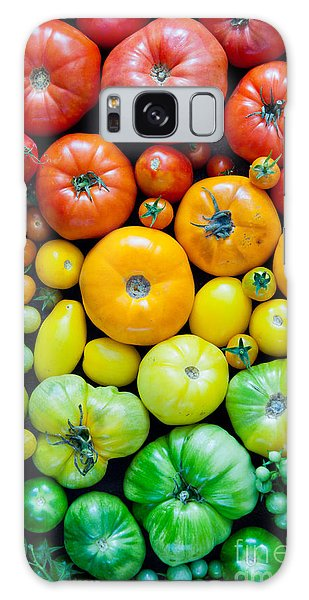 No People Galaxy Case - Fresh Heirloom Tomatoes Background by Letterberry