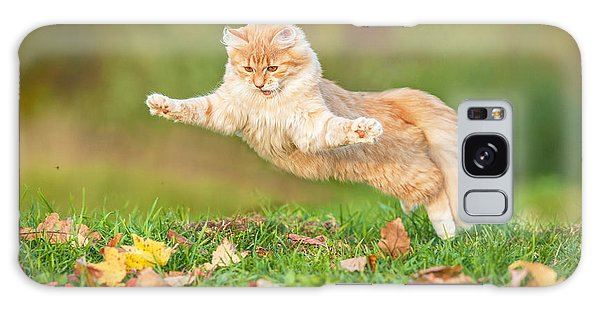 Furry Galaxy Case - Funny Cat Flying In The Air In Autumn by Grigorita Ko
