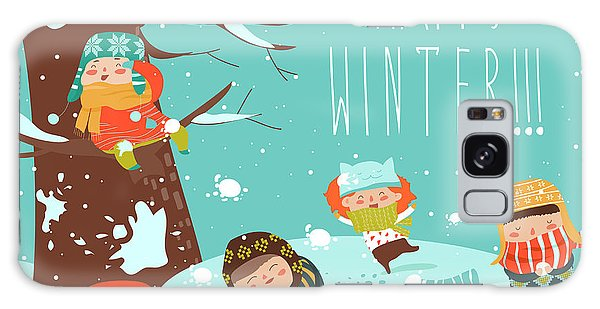 Active Galaxy Case - Funny Kids Playing Snowball Fight by Maria Starus
